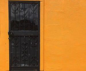doors, orange, and wall image