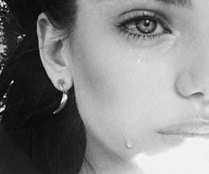 girl, black and white, and cry image
