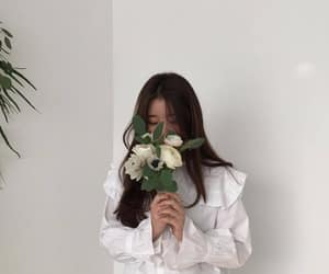 white, flowers, and girl image
