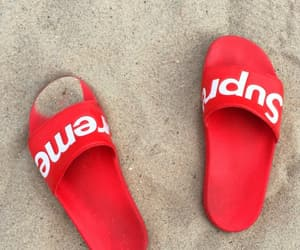 supreme, red, and shoes image