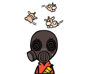 fire, gas mask, and gif image
