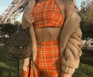 fashion, outfit, and orange image