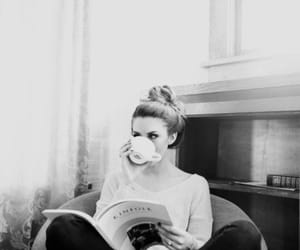 black and white, girl, and reading image