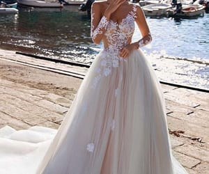 dress, bride, and wedding dress image