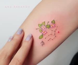 tattoo, flower, and virgo image