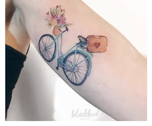 bike, body art, and floral image