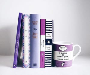book, purple, and reading image