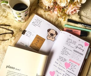 books, planner, and reading image