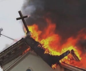 church and fire image