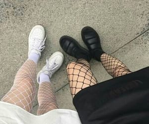 boots, fishnet, and fishnets image