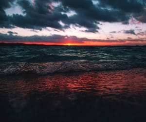 landscape, ocean, and sunset image