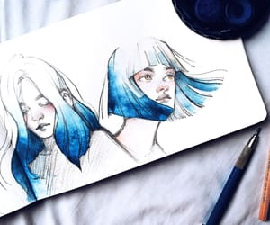 art, blue, and drawing image