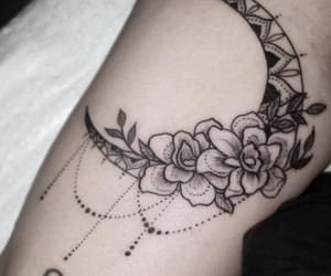 tattoo, moon, and flowers image