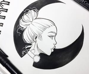 drawing, moon, and girl image