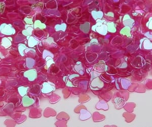 confetti, hearts, and pink image