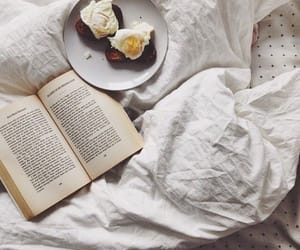 book, bed, and food image
