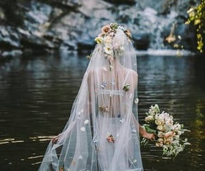 flowers, girl, and river image
