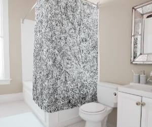 black white, trendy, and shower curtain image