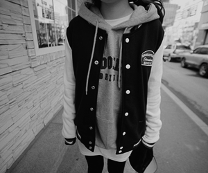 black & white, girl, and sweater image