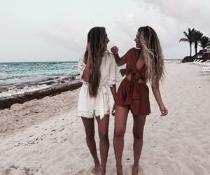 beach, best friends, and hair image