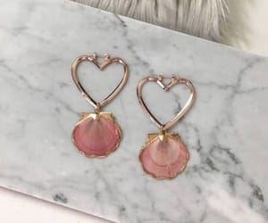 pink, earrings, and heart image