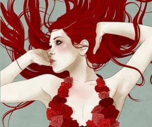 redhead rose dress image