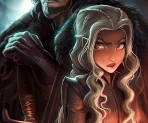 white wolf, game of thrones, and jon snow image