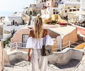girl, Greece, and santorini image