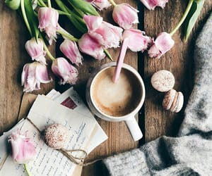 coffee, flowers, and letters image