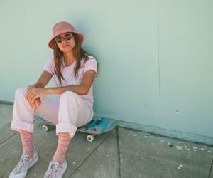 girl, pink, and skater image