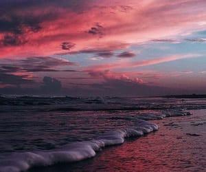 sky, pink, and sea image