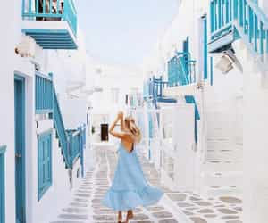 dress, blue, and Greece image