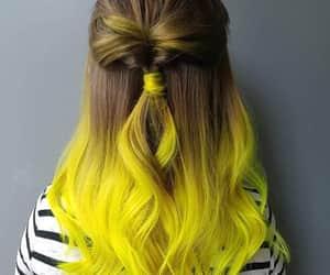 hair, girl, and yellow image