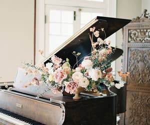 flowers, piano, and music image