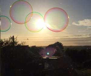 bubbles, photography, and sunset image