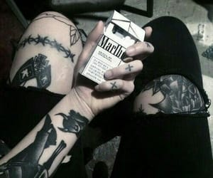 tattoo, cigarette, and black image