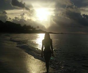 beach, paradise, and sunset image