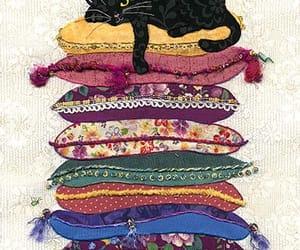 art, cat, and pillows image