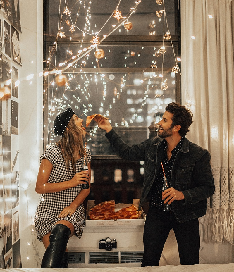 couple, pizza, and date image