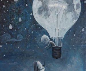 night, moon, and art image
