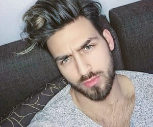 beard, hairy chest, and selfie image