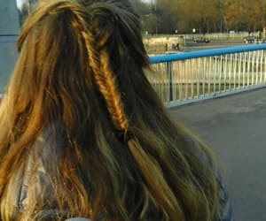 brown, fishtail, and hairstyle image
