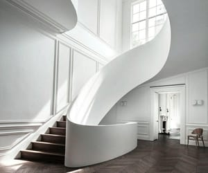 white, interior, and stairs image