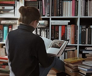 books, girl, and woman image