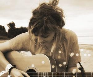 girl, guitar, and music image