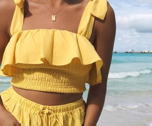 yellow, beach, and fashion image