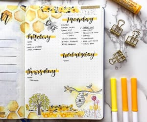 honey, yellow, and bullet journal image