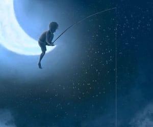 boy, fishing, and moon image