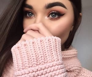 pink, makeup, and sweater image