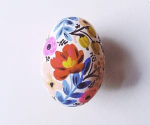 art, egg, and flowers image
